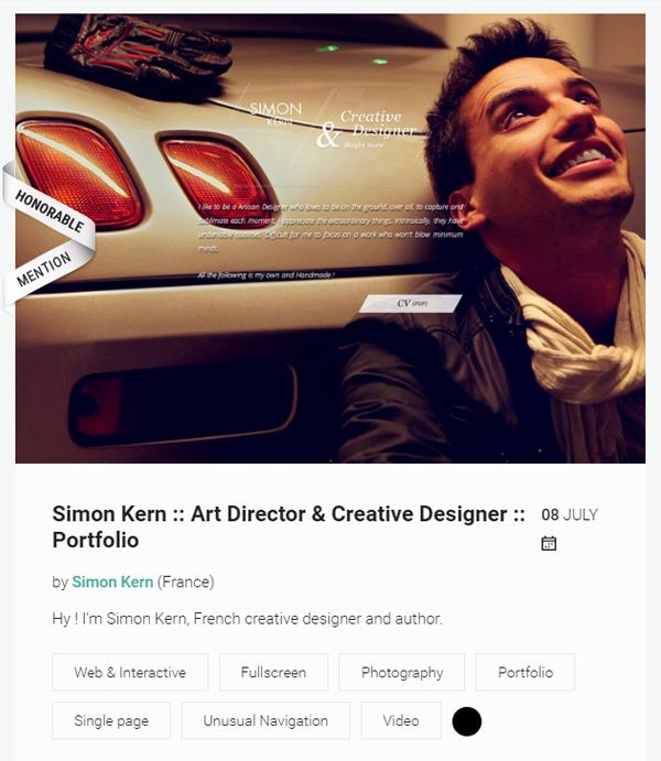 Simon Kern Awwwards Portfolio